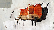 Cave art imitation collage with newspaper and paint