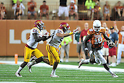 AUSTIN, TX - OCTOBER 18:  Tyrone Swoopes #18 of the Texas Longhorns scrambles against the Iowa State Cyclones on October 18, 2014 at Darrell K Royal-Texas Memorial Stadium in Austin, Texas.  (Photo by Cooper Neill/Getty Images) *** Local Caption *** Tyrone Swoopes