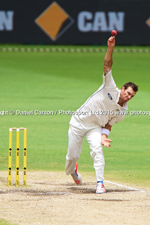 Doug Bracewell of the New Zealand Black Caps bowls during Day 5 on the 17th of November 2015. The New Zealand Black Caps tour of Australia, 2nd test at the WACA ground in Perth, 13 - 17th of November 2015.   Photo: Daniel Carson / www.photosport.nz