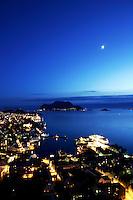 &Aring;lesund 20050513. Hurtigruta ligger til kai ved Skansekaia (th) i vakkert m&aring;neskinn<br /> <br /> Photo of Aalesund in beautiful moonlight.<br /> <br /> Foto: Svein Ove Ekornesv&aring;g