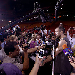 Jun 8, 2013; Miami, FL, USA; San Antonio Spurs shooting guard Manu Ginobili addresses the media during a press conference at the American Airlines Arena. Mandatory Credit: Derick E. Hingle-USA TODAY Sports
