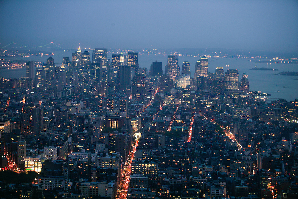 A view of Manhattan buildings taken from the Empire State Building viewing deck.