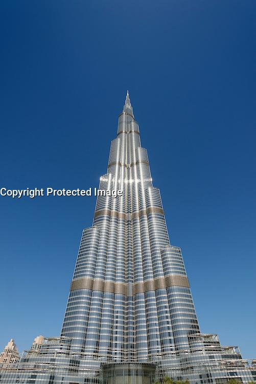 Daytime view of Burj Khalifa skyscraper ,world's tallest building in Dubai United Arab Emirates