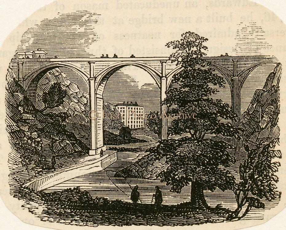 'Dean Bridge, Edinburgh, Scotland: road bridge built to the design of Thomas Telford (1757-1834) Scottish civil engineer. Woodcut c1840.'