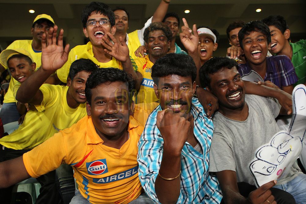 Spectators enjoying the atmosphere during match 41 of the the Indian Premier League ( IPL) 2012  between The Chennai Superkings and the Kolkata Knight Riders held at the M. A. Chidambaram Stadium, Chennai on the 30th April 2012..Photo by Jacques Rossouw/IPL/SPORTZPICS