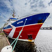 Nederland, Amsterdam, 7 juli 2016.<br /> Milieuclub Oceana ligt met haar onderzoeksschip Neptune in de Coenhaven van Amsterdam. Ze hebben geld gekregen van de postcodeloterij en gaan twee maanden op de Noordzee onderzoek doen hoe de visstand verbeterd zou kunnen worden.<br /> <br /> Netherlands, Amsterdam, July 7, 2016.<br /> Environmental Club Oceana with her research vessel Neptune docked in the Coenhaven harbour of  Amsterdam. They have received money from the postcode lottery and will do research in the North Sea during two months to find out how fish stocks could be improved.<br /> <br /> <br /> <br /> Foto: Jean-Pierre Jans