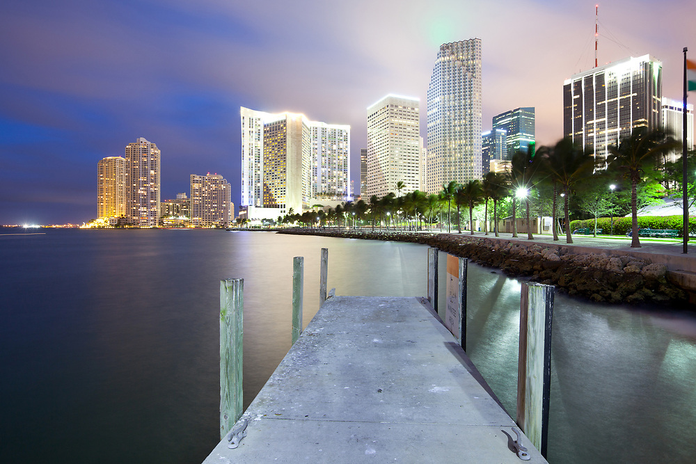 Skyline of city downtown and Brickell Key, Miami, Florida, USA