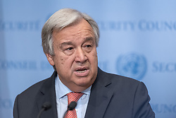 August 16, 2017 - New York, NY, United States - United Nations Secretary-General Antonio Guterres spoke to the press at the Security Council stakeout at UN Headquarters delivering a brief prepared statement regarding the ongoing security issues posed by North Korea's nuclear weapons program. Following his prepared remarks, the Secretary-General responded to questions regarding the political crisis in Venezuela and U.S. President Donald Trump's stance regarding the rise of white nationalism. (Credit Image: © Albin Lohr-Jones/Pacific Press via ZUMA Wire)