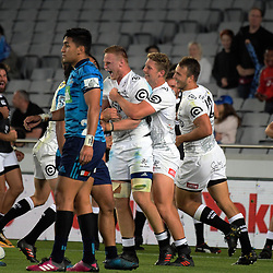 Sharks flanker Jean-Luc du Preez celebrates his try during the Super Rugby match between the Blues and Sharks at Eden Park in Auckland, New Zealand on Saturday, 31 March 2018. Photo: Dave Lintott / lintottphoto.co.nz