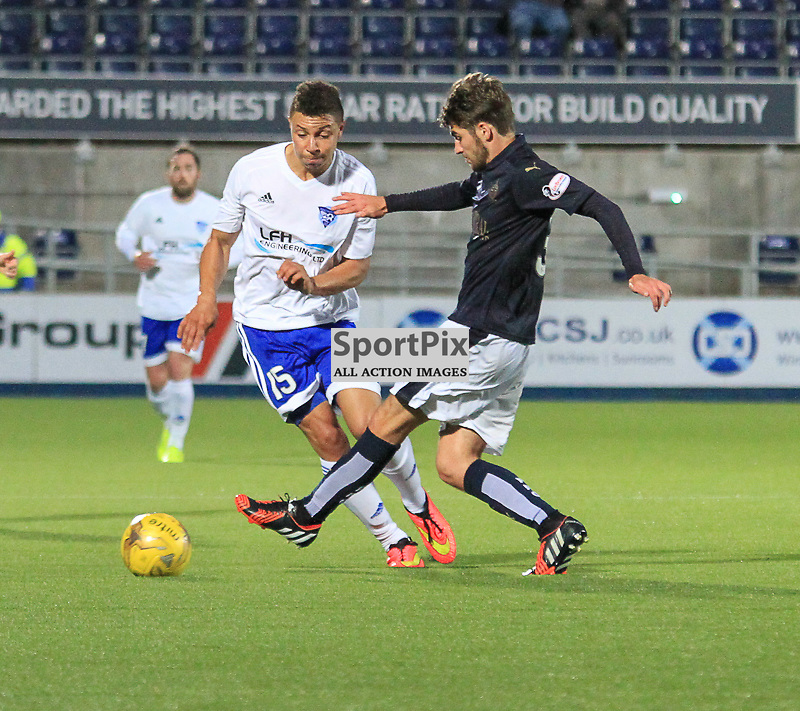 Falkirk V Peterhead PETROFAC TRAINING CUP 18 August 2015; Peterhead's Leighton McIntosh gets past Falkirk's Luke Leahy  during the Falkirk V Peterhead PETROFAC TRAINING CUP match played at The Falkirk Stadium, Falkirk.