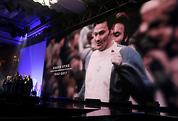A tribute to Roger Hynd on the big screen during the Professional Footballers' Association Awards 2017 at the Grosvenor House Hotel, London