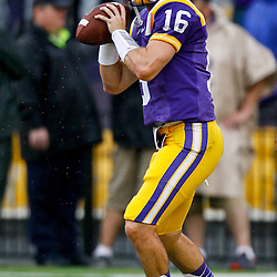 September 29, 2012; Baton Rouge, LA, USA;LSU Tigers quarterback Brad Kragthorpe (16) prior to kickoff of a game against the Towson Tigers at Tiger Stadium. LSU defeated Towson 38-22. Mandatory Credit: Derick E. Hingle-US PRESSWIRE