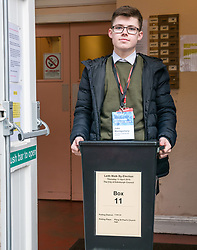 Pictured: Leith Walk Council By-Election, Leith Walk,  Edinburgh, Scotland, 10 April 2019. Pictured:  Leith Walk. The City of Edinburgh Council's elections team, prepare for the Leith Walk by-election. Council Officer Jake sets up for polling at one of the Ward polling stations with the ballot box at Pilrig St Paul&rsquo;s Church Hall and deliver the materials needed for the vote.  The by-election takes place on Thursday April 11.<br /> <br /> Sally Anderson | EdinburghElitemedia.co.uk
