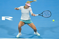DOHA, Feb. 15, 2019  Angelique Kerber of Germany hits a return during the women's singles quarterfinal between Barbora Strycova of the Czech Republic and Angelique Kerber of Germany at the 2019 WTA Qatar Open in Doha, Qatar, Feb. 14, 2019. Angelique Kerber won 2-1. (Credit Image: © Nikku/Xinhua via ZUMA Wire)