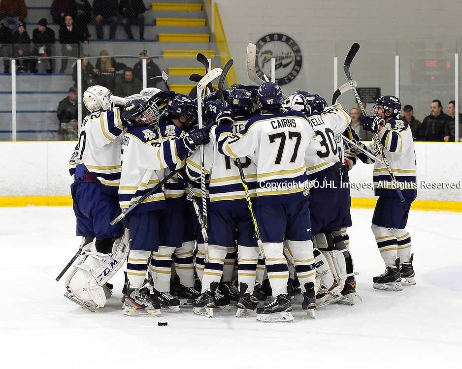 TORONTO, ON - Dec 21, 2014 : Ontario Junior Hockey League game action between Georgetown and Toronto Lakeshore, the Toronto Patriots celebrate the win.<br /> (Photo by Andy Corneau / OJHL Images)