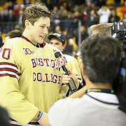 Thatcher Demko #30 of the Boston College Eagles speaks with the media following The Beanpot Championship Game at TD Garden on February 10, 2014 in Boston, Massachusetts. (Photo by Elan Kawesch)