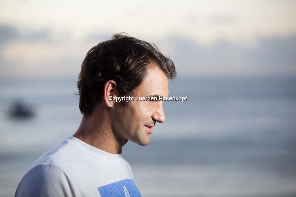Brisbane International Tennis Turnier, Queensland Tennis Centre,<br /> Roger Federer (SUI) im Tangalooma Resort auf Moreton Island, Naehe Brisbane,Einzelbild,Portrait,privat,