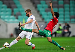 Nejc Skubic of Slovenia vs Ivelin Popov of Bulgaria  during football match between National Teams of Slovenia and Bulgaria in Final Tournament of UEFA Nations League 2019, on September 6, 2018 in SRC Stozice, Ljubljana, Slovenia. Photo by Morgan Kristan / Sportida