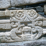 Late Summer? 1965<br /> Lose-up of elaborate fragment of decorated marble pirated from older Muslim or Hindu structures used here in wall around modern Muslim graves.