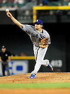 Aug. 6 2011; Phoenix, AZ, USA; Los Angeles Dodgers pitcher Nathan Eovaldi (50) delivers a pitch during the against the Arizona Diamondbacks at Chase Field. The Dodgers defeated the Diamondbacks 5-3.  Mandatory Credit: Jennifer Stewart-US PRESSWIRE..