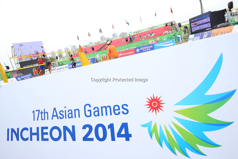 General view,<br /> SEPTEMBER 24, 2014 - Beach Volleyball : <br /> Women's Preliminary Round <br /> at Munhak Beach Volleyball Venue <br /> during the 2014 Incheon Asian Games in Incheon, South Korea. <br /> (Photo by Shingo Ito/AFLO SPORT)