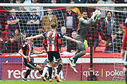Millwall FC goalkeeper Jordan Archer (1) takes the ball during the EFL Sky Bet Championship match between Sheffield United and Millwall at Bramall Lane, Sheffield, England on 14 April 2018. Picture by Ian Lyall.