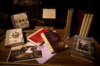 "Movie memorabilia at the ""Harry Potter"" exhibition at Discovery Times in New York. ..Photo by Robert Caplin."