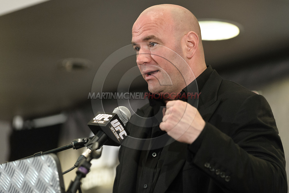 BIRMINGHAM, ENGLAND, NOVEMBER 5, 2011: UFC president Dana White addresses the media during the post-fight press conference for UFC 138 inside the LG Arena on November 5, 2011.