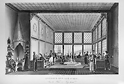 Inside a cafe in the Tophane district, Instanbul, Turkey, with men smoking long pipes and an ablutions fountain in the centre, engraving, c. 1860. Copyright © Collection Particuliere Tropmi / Manuel Cohen