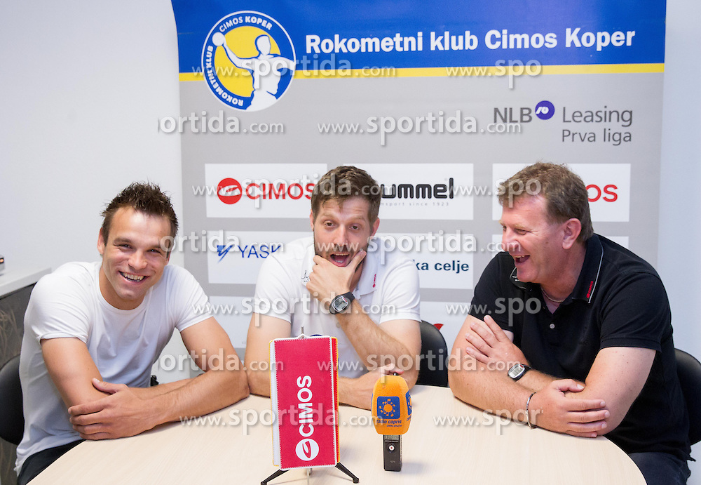 Matjaz Brumen, Uros Rapotec and Fredi Radojkovic, head coach  at press conference of RK Cimos Koper about financial crisis in the club on May 22, 2013 in Arena Bonifika, Koper, Slovenia. (Photo By Vid Ponikvar / Sportida)