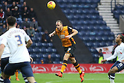 Hull City Midfielder David Meyler heads clear during the Sky Bet Championship match between Preston North End and Hull City at Deepdale, Preston, England on 28 December 2015. Photo by Pete Burns.