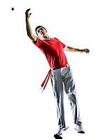 one caucasian Jai alai Basque pelota <br /> Cesta Punta player man isolated on white background silhouette