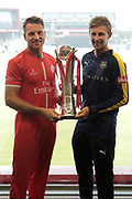 Lancashires Jos Buttler (Wicket Keeper) and Yorkshires Joe Root with the Vitality Blast trophy before the Vitality T20 Blast North Group match between Lancashire County Cricket Club and Yorkshire County Cricket Club at the Emirates, Old Trafford, Manchester, United Kingdom on 20 July 2018. Picture by George Franks.