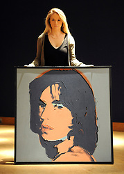 ©London News pictures. 11.02.2011. A Andy Warhol painting of Mick Jagger, expected to fetch 550.00-750.00- pounds. A preview, today (Fri) of Christie's Auction House Post-War and Contemporary Art Evening Auction. The sale is expected to make a combined total of £46,246,000 to £66,447,000 when it is sold on 16th Feb 2011.. Picture Credit should read Stephen Simpson/LNP