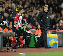 Southampton Manager, Ronald Koeman looks on at Southampton's Dominic Gape as he comes onto the field.  - Photo mandatory by-line: Alex James/JMP - Mobile: 07966 386802 - 20/12/2014 - SPORT - Football - Southampton  - St Mary's Stadium - Southampton  v Everton - Football