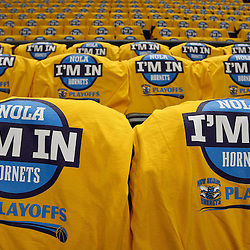 April 22, 2011; New Orleans, LA, USA; New Orleans Hornets I'm In t-shirts await fans in the stand before game three of the first round of the 2011 NBA playoffs against the Los Angeles Lakers at the New Orleans Arena.    Mandatory Credit: Derick E. Hingle