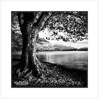 Lake Annecy, France - Monochrome version. Inkjet pigment print on Canson Infinity Rag Photographique 310gsm 100% cotton museum grade Fine Art and photo paper.<br />