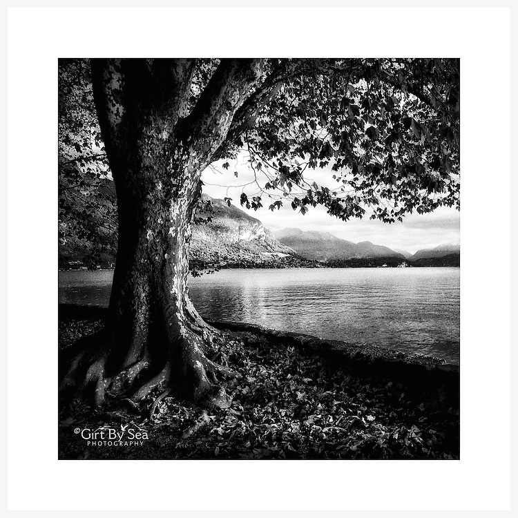 Lake Annecy, France - Monochrome version. Inkjet pigment print on Canson Infinity Rag Photographique 310gsm 100% cotton museum grade Fine Art and photo paper.<br /> <br /> 8x8&quot; Prints: First print $49. Additional prints in same order $29. (A half inch white border is added for safe handling. Size with border 9x9&rdquo;).<br /> <br /> Frame-Ready Prints: Add $29 per print. Includes mounting on 12x12&rdquo; foam-board, plus white matboard with 8x8&rdquo; photo opening. Suits standard 12x12&rdquo; frames.<br /> <br /> Price includes GST &amp; postage within Australia. <br /> <br /> Order by email to orders@girtbyseaphotography.com  quoting image title or reference number, your contact details, delivery address &amp; preferred payment method (PayPal or Bank Deposit). You will be invoiced by return email. Normally ships within 7 days of payment.