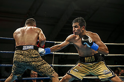 March 22, 2019 - Miami, Florida, USA - Nicaraguan bantamweight MELVIN LOPEZ in action against Colombia's JESUS MARTINEZ in the co main feature of M&R Boxing Promotion's Fight Night at the Miccosukee Resort and Gaming Dome. Lopez won the bout by unanimous decision. (Credit Image: © Adam DelGiudice/ZUMA Wire)