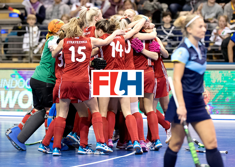BERLIN - Indoor Hockey World Cup<br /> Bronze: Ukraine - Belarus<br /> Belarus wins 3rd place.<br /> foto: <br /> WORLDSPORTPICS COPYRIGHT FRANK UIJLENBROEK