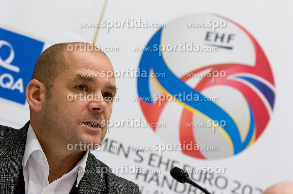 31.10.2016, Pyramide Voesendorf, Voesendorf, AUT, EHF, Handball EM Qualifikation, Österreich vs Finnland, Pressekonferenz Österreich, im Bild Generalsekretär Martin Hausleitner (ÖHB) // during a press conference of Team Austria (AUT) in front of the EHF Handball European Championship Qualifier Match between Austria and Finland at the Pyramide Voesendorf, Voesendorf, Austria on 2016/10/31. EXPA Pictures © 2016, PhotoCredit: EXPA/ Sebastian Pucher