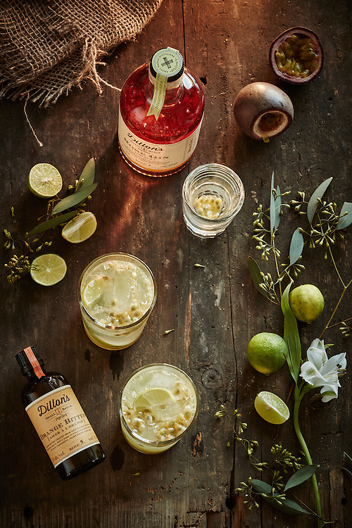 Product shot for Dillon's Distillery showing both the raw ingredients and the finished product Shot on a Fuji XT1.