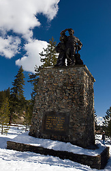 Donner Party monument covered in snow, Donner Memorial State Park, Truckee, California, United States of America
