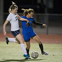 (Photograph by Bill Gerth for SVCN) Prospect vs. Lincoln in a BVAL Girls Soccer Game at Lincoln High School, San Jose CA on 1/27/17.  (Lincoln 2 Prospect 1 )