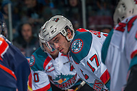 KELOWNA, CANADA - DECEMBER 27: Rodney Southam #17 of the Kelowna Rockets faces off against the Kamloops Blazers on December 27, 2016 at Prospera Place in Kelowna, British Columbia, Canada.  (Photo by Marissa Baecker/Shoot the Breeze)  *** Local Caption ***