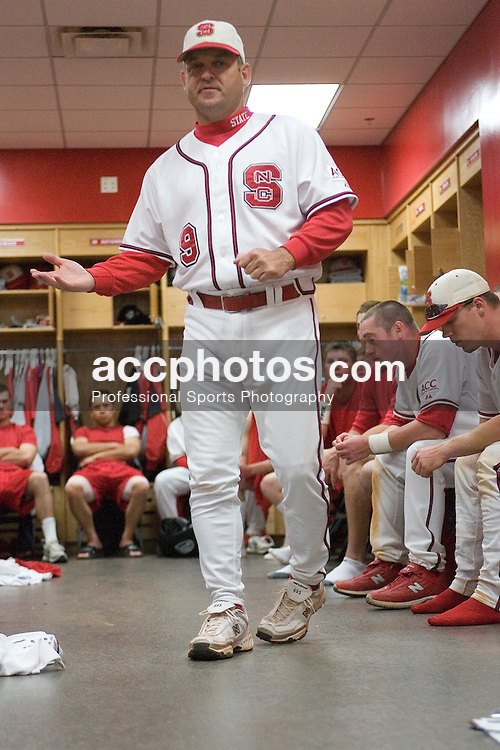 11 March 2007: North Carolina State Wolfpack head coach Elliott Avent speaks to his team in the locker room after a 20-3 North Carolina State Wolfpack victory over the Maryland Terrapins at Doak Field in Raleigh, NC.