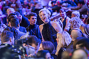 Gwendoline Christie enjoys the tv interviews - The European Premiere of STAR WARS: THE FORCE AWAKENS - Odeon, Empire and Vue Cinemas, Leicester Square, London.