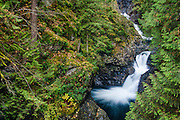 Middle tiers of Twin Falls on the South Fork Snoqualmie River, Olallie State Park, Cascade Mountains, Washington.