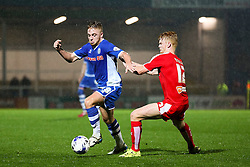 Callum Camps of Rochdale takes on Liam O'Neil of Chesterfield  - Mandatory byline: Matt McNulty/JMP - 07966 386802 - 06/10/2015 - FOOTBALL - Spotland Stadium - Rochdale, England - Rochdale v Chesterfield - Johnstones Paint Trophy