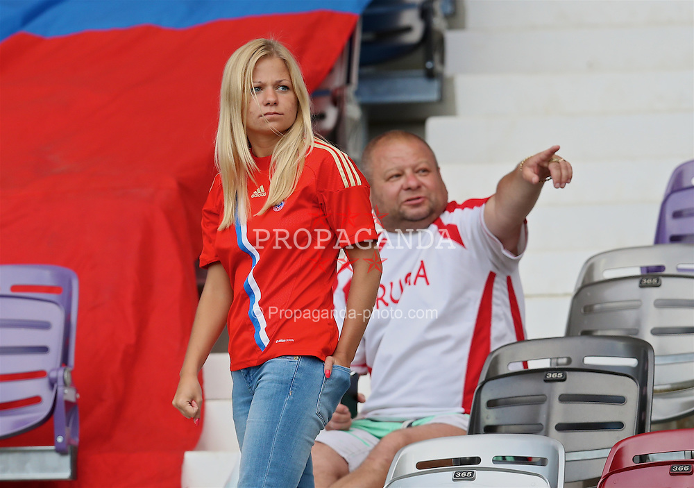 TOULOUSE, FRANCE - Monday, June 20, 2016: A female Russia supporter before the final Group B UEFA Euro 2016 Championship match against Wales at Stadium de Toulouse. (Pic by David Rawcliffe/Propaganda)
